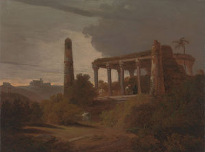 Thomas And William Daniell - indien paysage avec  temple  Ruines