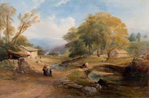 Thomas Miles Richardson Senior - Paysage pont  et  de figures