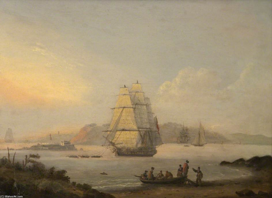 une vue Au Plymouth de William Anderson (1757-1837, United Kingdom) | Copie Tableau | WahooArt.com
