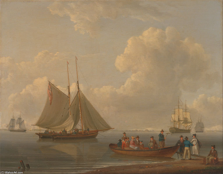 Une wherry prenant passagers vers Deux Ancrée Packets de William Anderson (1757-1837, United Kingdom) | Reproductions De Qualité Musée | WahooArt.com