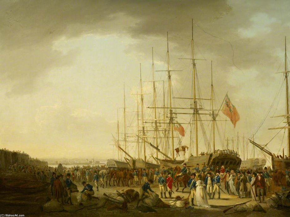 Cavalerie embarquer à Blackwall de William Anderson (1757-1837, United Kingdom)