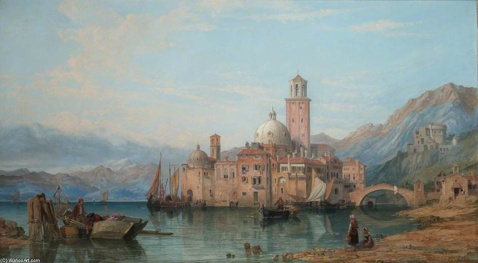 une italien  lac  Scène  de George Clarkson Stanfield (1793-1867, United Kingdom)