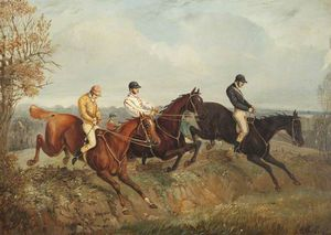 Henry Thomas Alken - trois steeplechasers clearing un Fossé