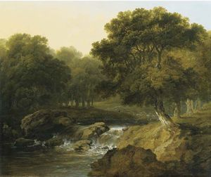 James Arthur O Connor - a `wooded` rivière paysage
