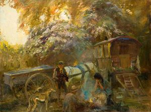 Alfred James Munnings - A Gipsy Campfire