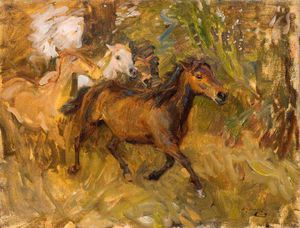 Alfred James Munnings - Crossing The Ford