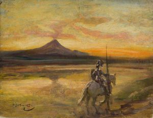 Alfred James Munnings - Chevalier Riding par un lac