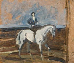 Alfred James Munnings - lady munnings sur une gris hunter -