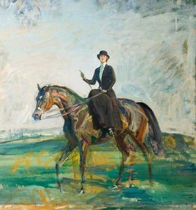Alfred James Munnings - lady munnings équitation baie chasseur