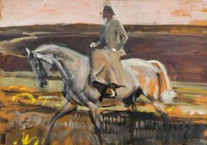 Alfred James Munnings - Pour étudier «dame Munnings Riding On Exmoor»
