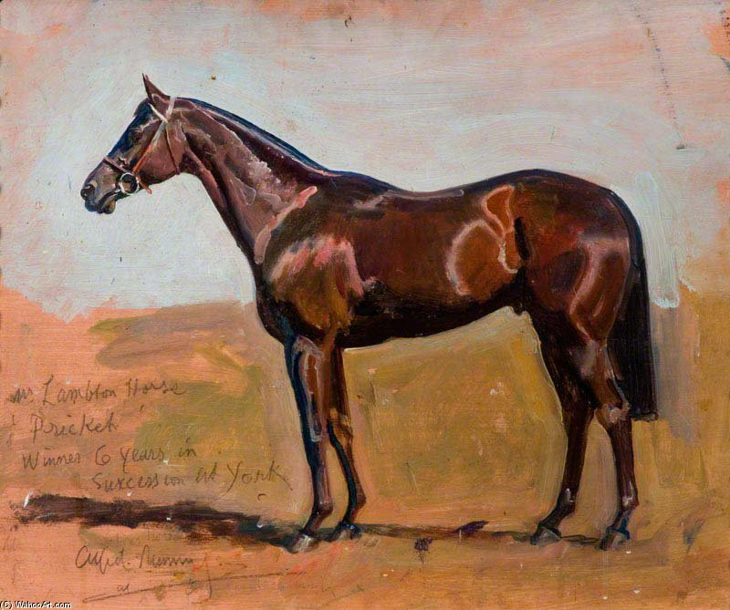 étude des Grimston de m Lambton`s Cheval , `pricket` de Alfred James Munnings (1878-1959, United Kingdom) | Copie Tableau | WahooArt.com