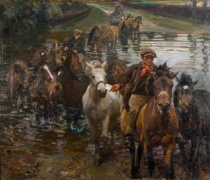 Alfred James Munnings - le gué -