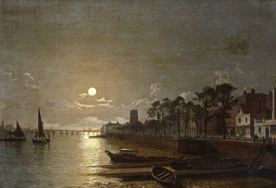 Chelsea au clair de lune de Henry Pether (1828-1865, United Kingdom)