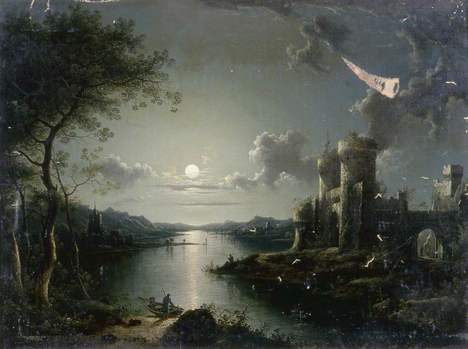 au clair de lune Scène  de Henry Pether (1828-1865, United Kingdom)
