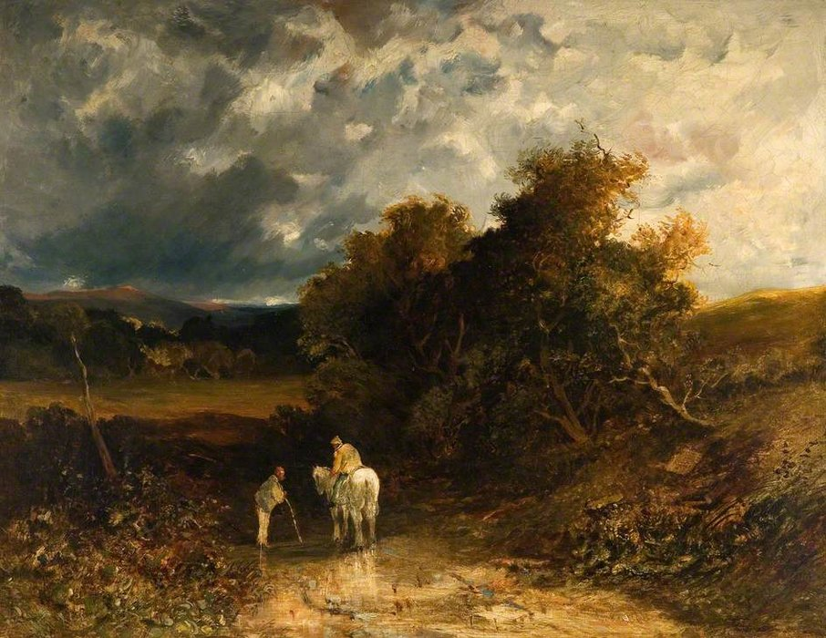 `countrymen` avec un blanc cheval de James Netherlands (1799-1870, United Kingdom) | Reproductions D'œuvres D'art James Netherlands | WahooArt.com