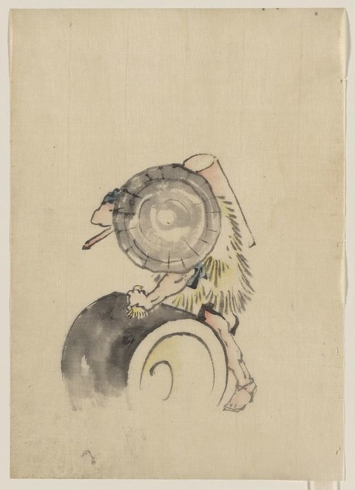 un homme , portant un grand conical chapeau et une paille ou feather de Katsushika Hokusai (1760-1849, Japan)