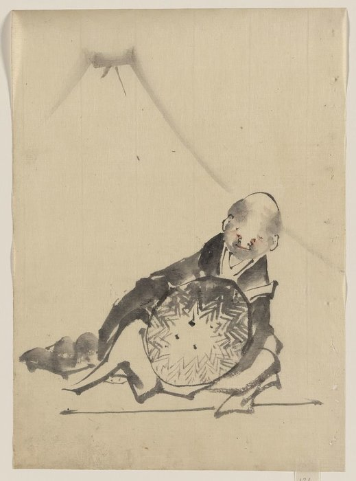Une Moine Inclinable , tenant un grand conical chapeau en devant Il de Katsushika Hokusai (1760-1849, Japan)