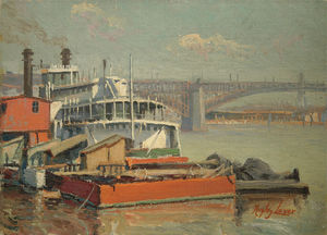 Richard Hayley Lever - Paddle Steamer Mark Twain, Fleuve Mississippi Eads Bridge At St. Louis