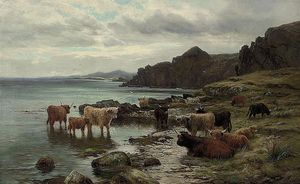 Louis Bosworth Hurt - Highland Cattle arrosage At A Loch