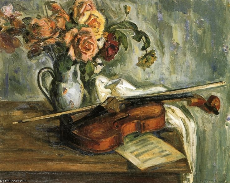 Nature Morte violon  de Louis Ritman (1889-1963, Russia)