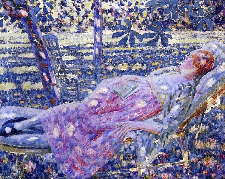 Summer Day In A Chaise Lounge de Louis Ritman (1889-1963, Russia) | Reproductions De Qualité Musée | WahooArt.com