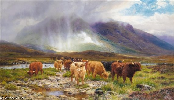 Une averse passagère, Glen Orchy de Louis Bosworth Hurt (1856-1929, United Kingdom) | Reproductions De Qualité Musée | WahooArt.com