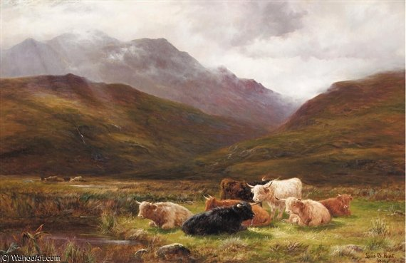 Une pâturage dans glen falloch , Perthshire de Louis Bosworth Hurt (1856-1929, United Kingdom)