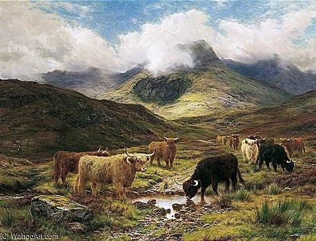 bovins en la  Hauts plateaux  de Louis Bosworth Hurt (1856-1929, United Kingdom) | Reproduction Peinture | WahooArt.com