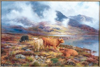Highland Cattle Par Un Loch de Louis Bosworth Hurt (1856-1929, United Kingdom)