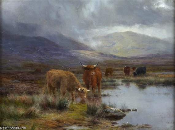 Highland Cattle arrosage dans une montagne Lochan de Louis Bosworth Hurt (1856-1929, United Kingdom) | Copie Tableau | WahooArt.com