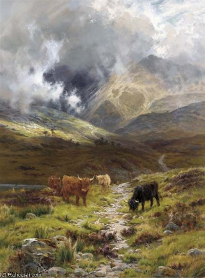 collines de Ross Comté , glen torridon de Louis Bosworth Hurt (1856-1929, United Kingdom)