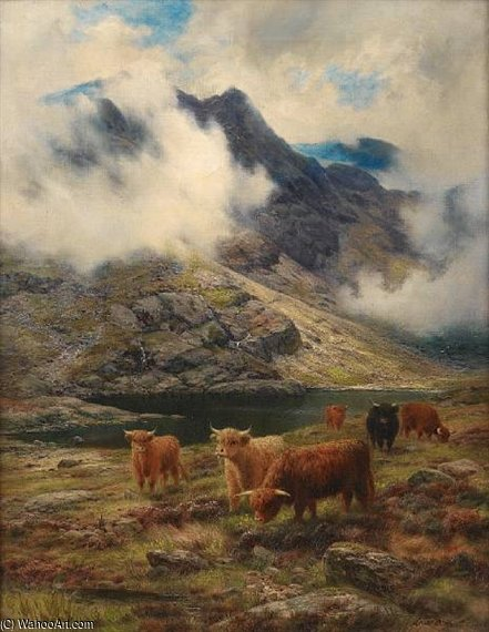 pastures bruts , Une skye col de Louis Bosworth Hurt (1856-1929, United Kingdom)