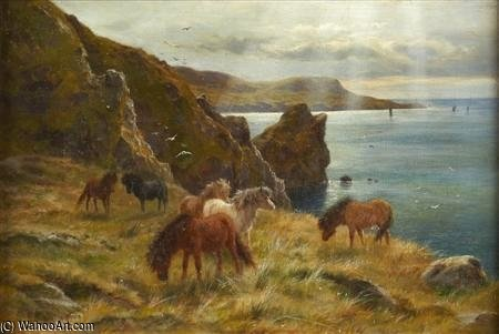 Poneys Shetland sur Bressay sonore de Louis Bosworth Hurt (1856-1929, United Kingdom)