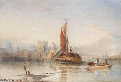 Haybarges Sur Le Medway de Thomas Sewell Robins (1810-1880, United Kingdom)