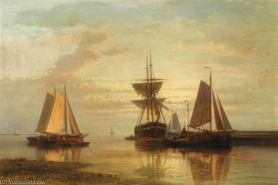 Bateaux de pêche amarrés And A Clipper At Sunset de Abraham Hulk Senior (1813-1897, Netherlands)