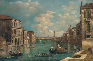 Alfred Pollentine - navires sur le grand canal , Venise