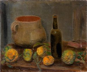 Boris Dmitrievich Grigoriev - nature morte au pichet et aux fruits