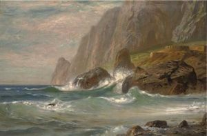 Ernst Carl Eugen Koerner - Crashing Waves Contre Un Rocky Cove