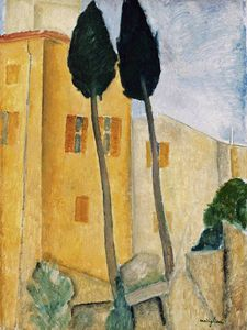 Amedeo Modigliani - Cypress arbres et maisons