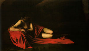 Caravaggio (Michelangelo Merisi) - Inclinable Baptiste