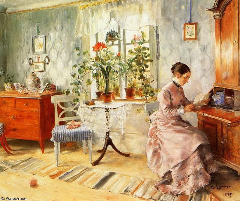 Une int rieur avec une femme lecture de carl larsson 1853 for Carl stuer interieur