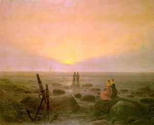 Caspar David Friedrich - lune lever  plus  la  mer