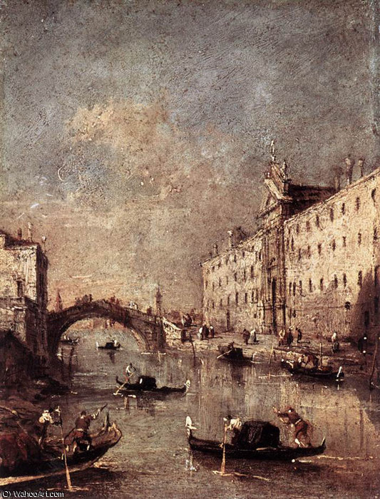 rio dei mendicanti de Francesco Lazzaro Guardi (1712-1793, Italy)
