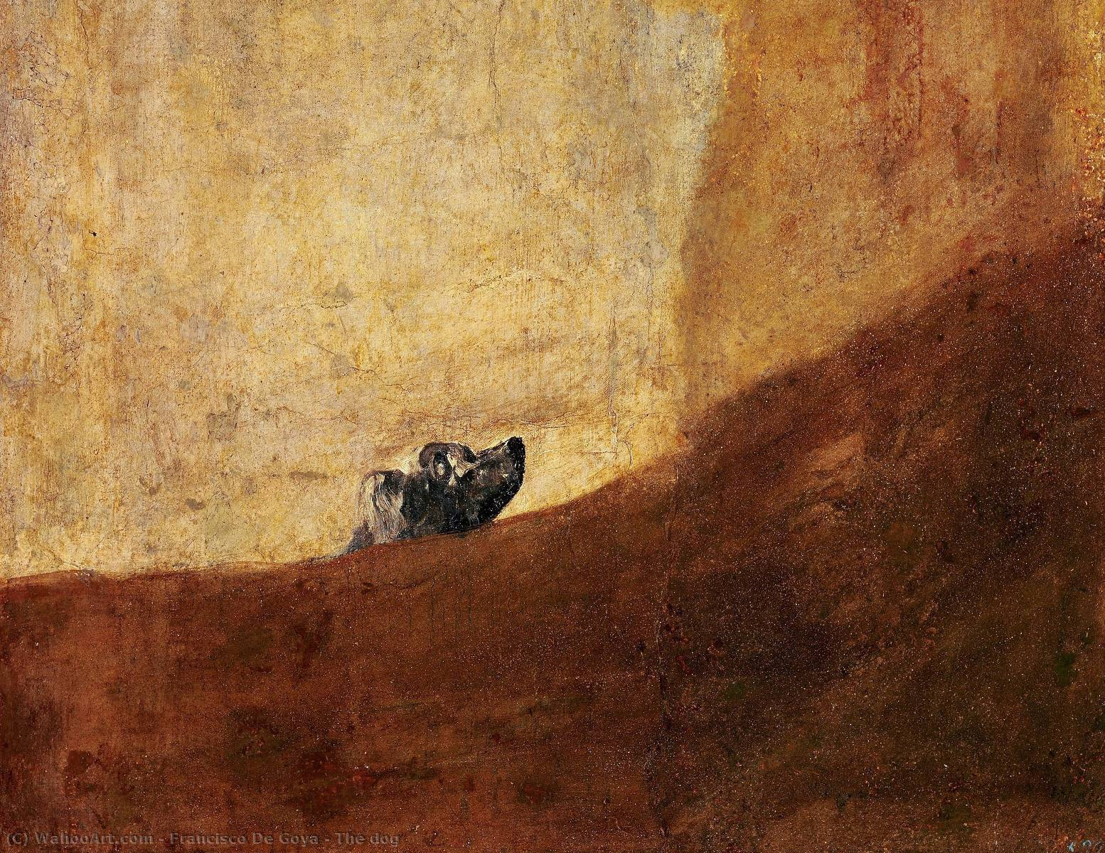 le chien, 1823 de Francisco De Goya (1746-1828, Spain) | Reproductions D'œuvres D'art Francisco De Goya | WahooArt.com