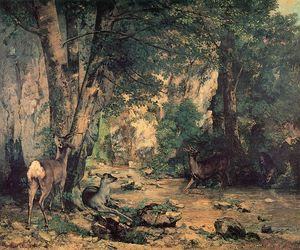 Gustave Courbet - Un fourré de Deer au Ruisseau de Plaisir Fountaine