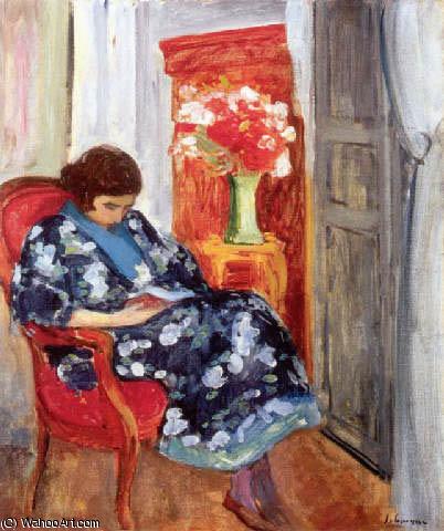 Jeune femme lisant dans onu interieur 1920 de henri for Interieur 1920