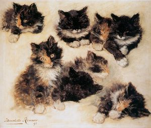 Henriette Ronner Knip - chatons soleil