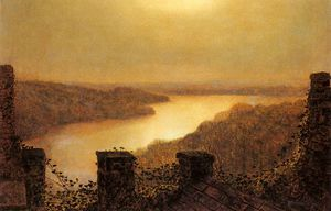 John Atkinson Grimshaw - Lac Roundhay issus  château