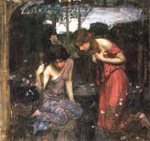 John William Waterhouse - Nymphes trouvant la tête de l étude de orpheus