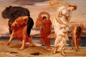 Lord Frederic Leighton - Filles grecques Picking up Pebbles par la mer